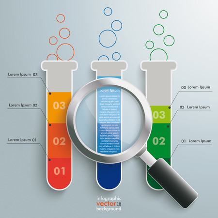 Infographic with lab tubes and loupe on the grey background Vector