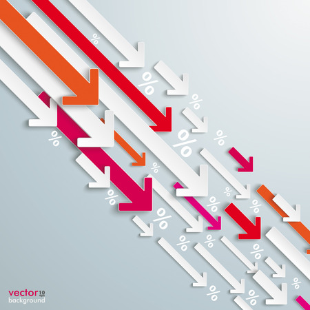 slump: White and colored arrows with percents on the grey background Illustration