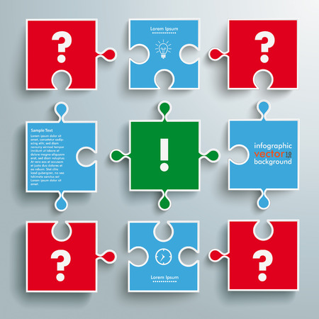 glas 3d: Colored paper puzzle pieces with question and exclamation marks on the grey background Illustration