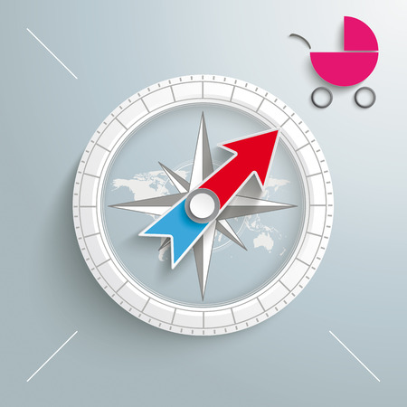 White compass with pink baby buggy on the grey background Vector