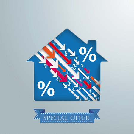 House hole with arrows and percents and banner Vector