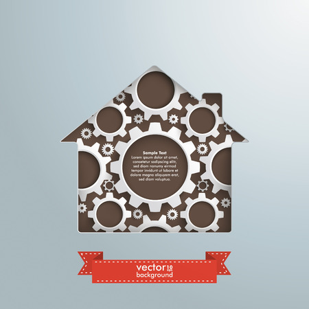 fonds: House hole with white gears and banner
