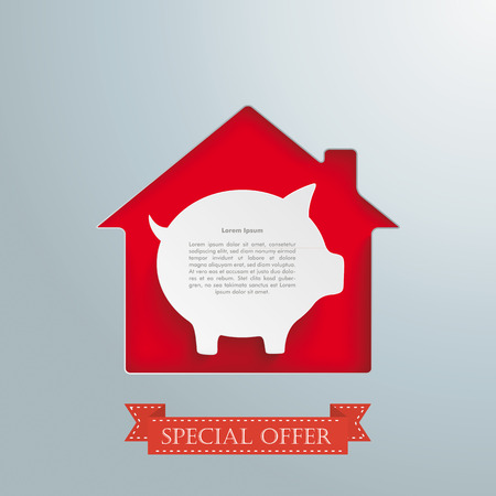 fonds: House hole with white piggy bank and banner
