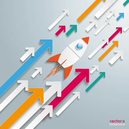 Paper rocket with colored arrows on the grey background Vector
