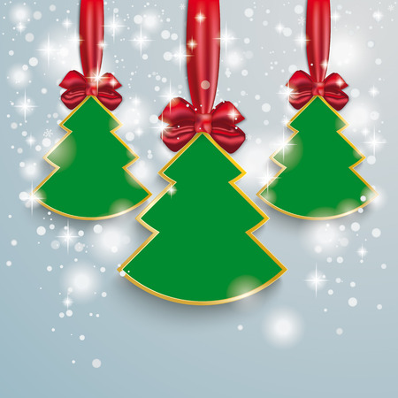 Snow with stars, christmas tree and red ribbon on the grey background. Eps 10 vector file. Vector