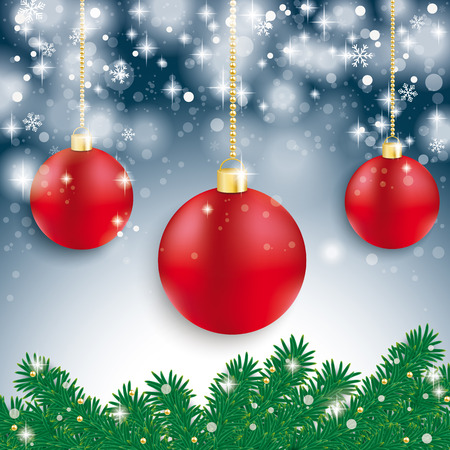 Red baubles with fir branches on the blue background. Eps 10 vector file. Vector