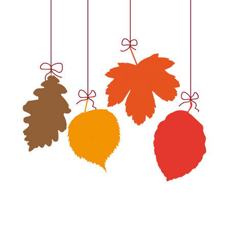 4 autumn leaves on the white background. Eps 10 vector file. Vector
