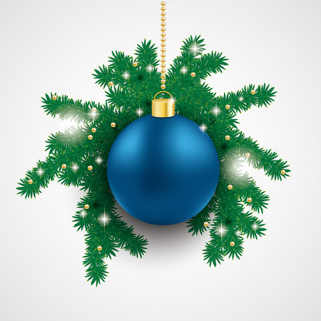 snoflake: Snow with blue bauble and fir branches on the grey background. Eps 10 vector file.