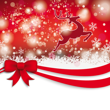 snoflake: Christmas card with red ribbon, snow, stars and rentier. Eps 10 vector file.