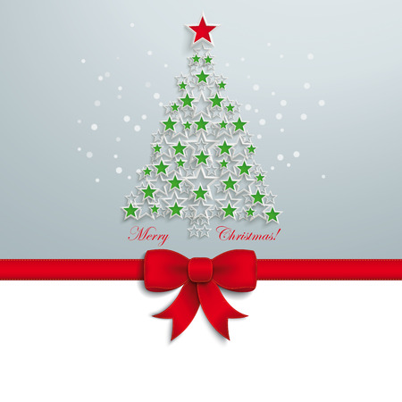 Christmas tree with white stars on the grey background. Eps 10 vector file. Vector