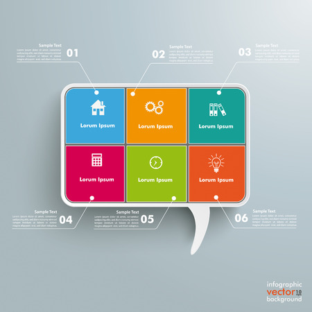 six objects: Rectangle speech bubble with 6 options on the grey background. Eps 10 vector file. Illustration