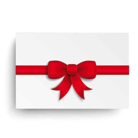 chit: Red ribbon on the white background. Eps 10 vector file. Illustration