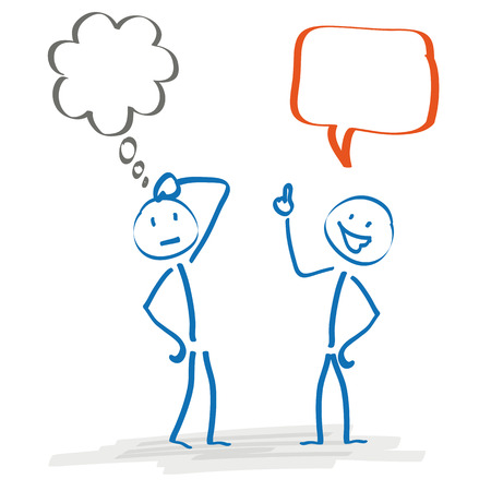 2 Stickmen with thought and speech bubble on the white background. Eps 10 vector file. Vector