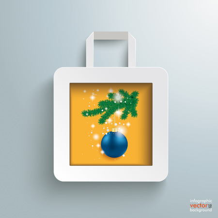 White paper shopping bag with christmas bauble on the grey background. Eps 10 vector file. Vector