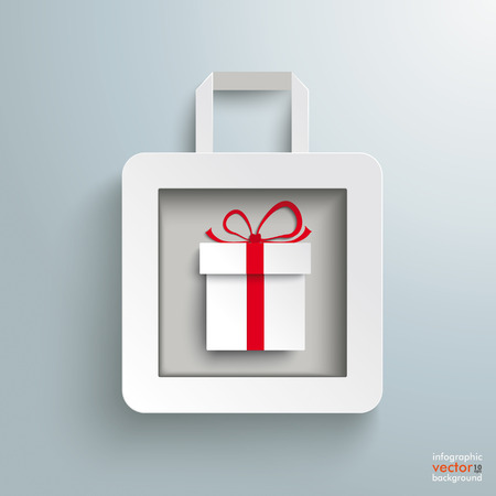 gift paper: White paper shopping bag with gift on the grey background. Eps 10 vector file.