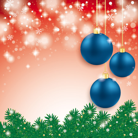 snoflake: Blue baubles with fir branches on the grey background. Eps 10 vector file.