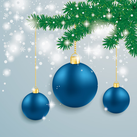 snoflake: Snow with blue baubles and fir branches on the grey background. Eps 10 vector file.