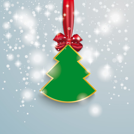 snoflake: Snow with stars, christmas tree and red ribbon on the grey background. Eps 10 vector file.