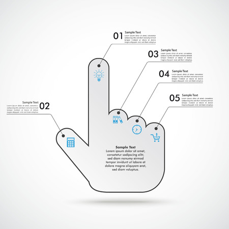 Infographic with cursor hand on the white background.  Eps 10 vector file. Vector