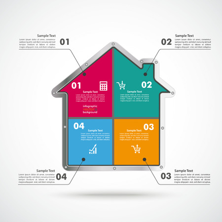 Infographic with house on the white background.  Eps 10 vector file. Vector