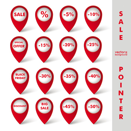 Red markers with sale icons on the white background. Eps 10 vector file. Vector