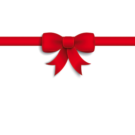 Red ribbon on the white background. Eps 10 vector file. Vettoriali