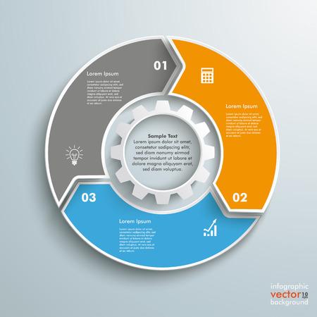 Farbige Ring mit 3 Optionen auf dem grauen Hintergrund. Eps 10 Vektor-Datei.