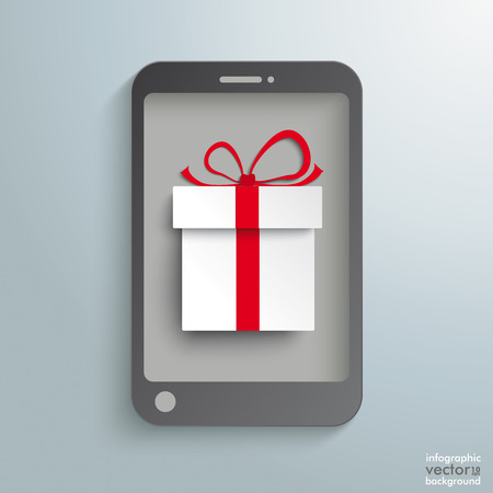 Smartphone with white gift on the grey background. Eps 10 vector file. Vector