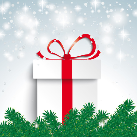 Snow with fir branches and gift on the grey background. Eps 10 vector file. Vector