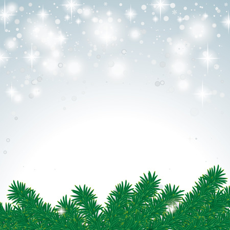 snoflake: Snow with fir branches on the grey background. Eps 10 vector file.