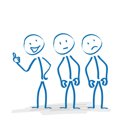 3 Stickmen With Different Moods On The White Background. Eps 10 Vector File.