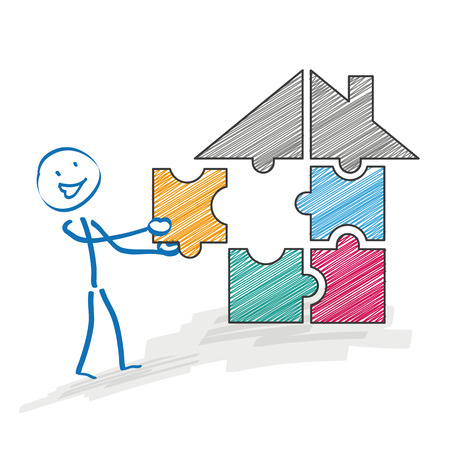 ten best: Stickman with a puzzle piece and a house on the white background. Eps 10 vector file. Illustration