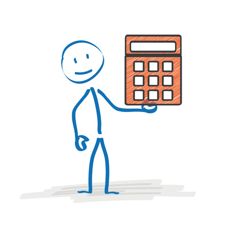 pocket pc: Stickman with orange calculator on the white background. Eps 10 vector file.