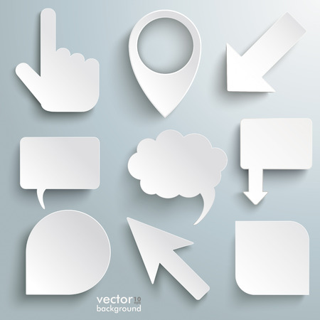 White paper markers on the grey background. Eps 10 vector file. Vector
