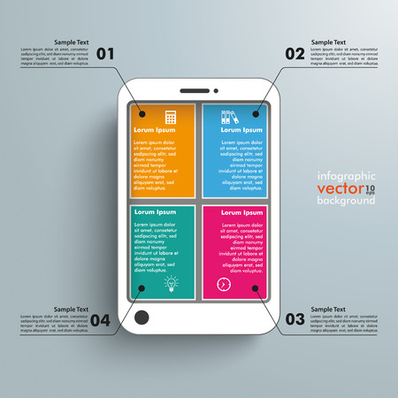 White smartphone with banners on the grey background. Eps 10 vector file.
