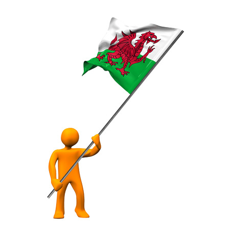 taffy: Orange cartoon with a big flag of Wales, isolated on white.