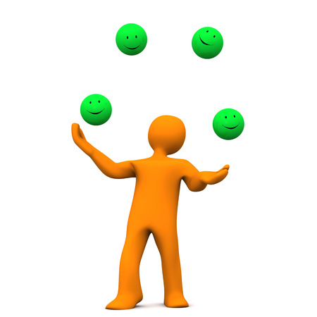 juggles: Orange cartoon character juggles with green smileys. White background. Stock Photo