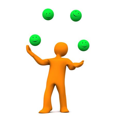 jugglery: Orange cartoon character juggles with green smileys. White background. Stock Photo