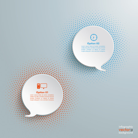 paper tag: 2 speech bubbles with halftone on the grey background.  Illustration