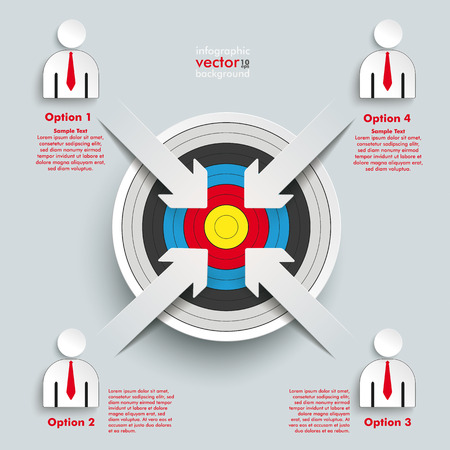 disposal: White paper arrow with red aim on the grey background.  Illustration