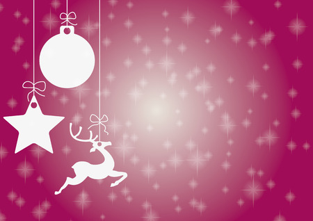 Christmas card with star, bauble and rentier. Vector