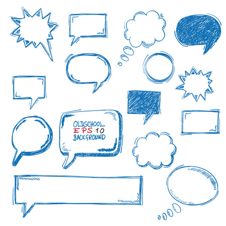 halfone: Handdrawn communication bubbles on the white background. Illustration