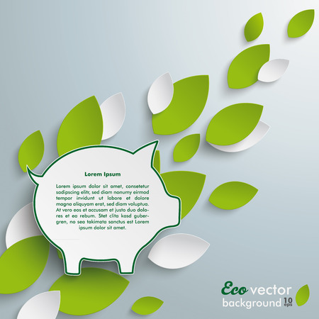 fonds: Silver background with leaves and piggy bank infographic.