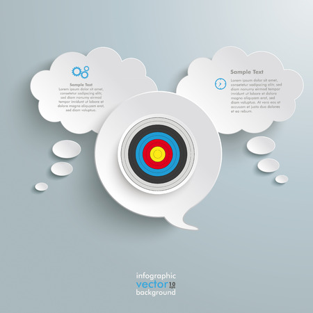 halfone: Thought and speech bubbles with target on the grey background.  Illustration