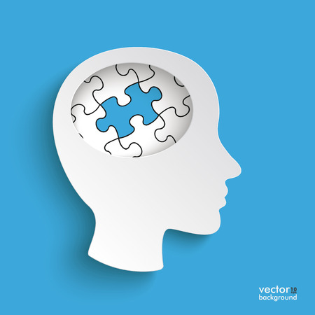 brain research: Infographic with white head with puzzle pieces on the blue background.