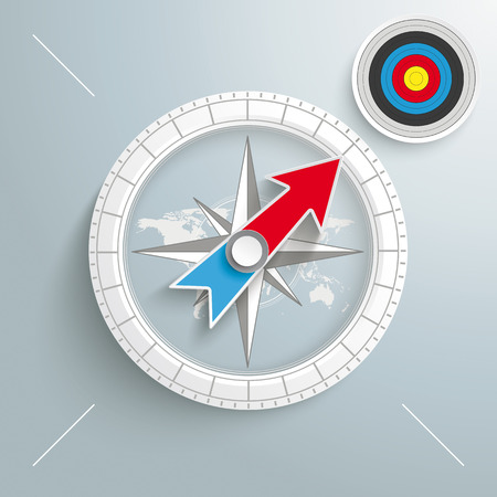 foresight: White compass with red text Target on the grey background.  Illustration