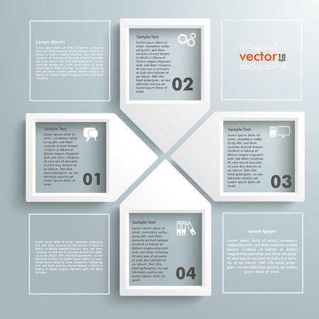 research paper: Infographic with frames on the grey background.