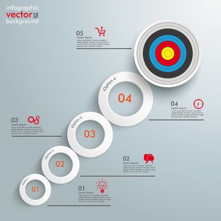 optimize: Infographic with white circles on the grey background.