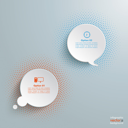 halfone: Speech and thought bubbles with halftone on the grey background.
