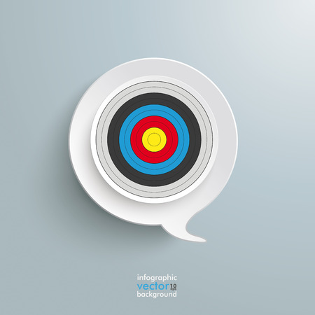 halfone: Speech bubble with target on the grey background.